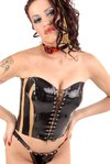Latex corset laced
